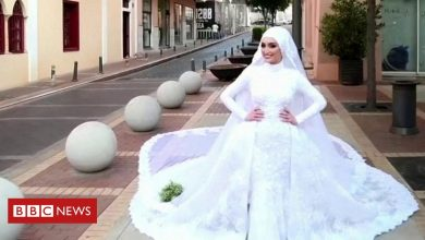 Photo of Beirut: The bride being photographed in wedding dress as blast hit