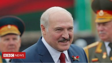 Photo of Belarus President Alexander Lukashenko under fire