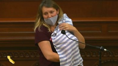Photo of California assemblywoman brings newborn to the legislature floor.