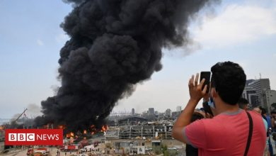 Photo of Beirut fire: Large blaze erupts in port a month after explosion