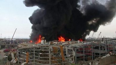 Photo of Beirut fire: Blaze in port area a month after explosion