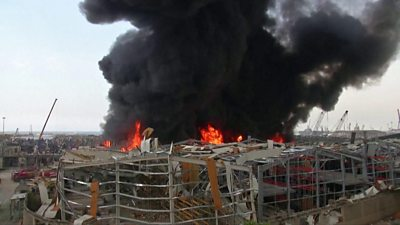 beirut-fire:-blaze-in-port-area-a-month-after-explosion