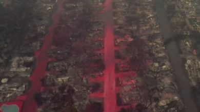 Photo of Drone footage shows Oregon town covered in flame retardant