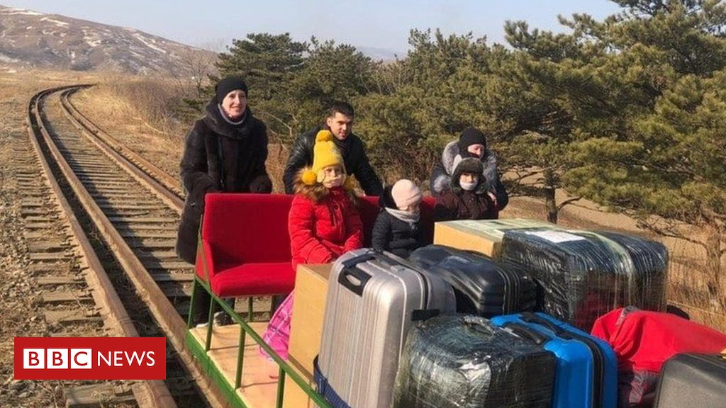 north-korea:-russian-diplomats-leave-by-hand-pushed-trolley