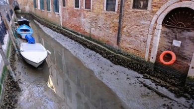 Photo of Venice: Low tides leave canals dry