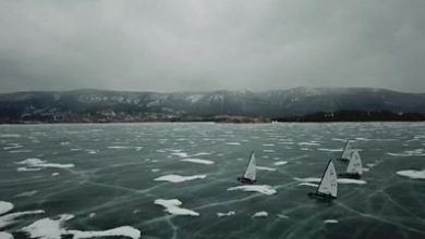 Photo of Ice yachts glide on top of world's deepest freshwater lake