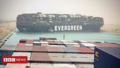 Photo of Egypt's Suez Canal blocked by huge container ship