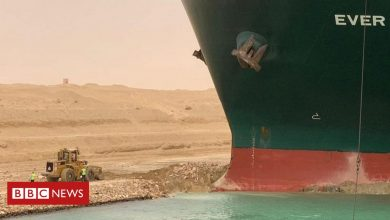 Photo of In pictures: Container ship blocks Egypt's Suez Canal