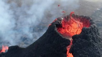 Photo of Iceland: Close-up drone footage of volcanic eruption
