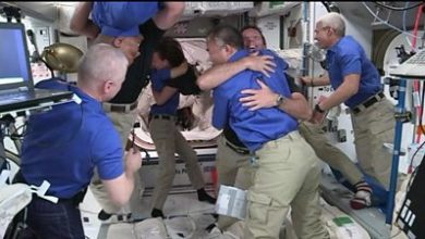 Photo of Hugs of welcome for new arrivals on space station