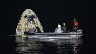 Photo of SpaceX ISS mission: Night-time splashdown for four astronauts