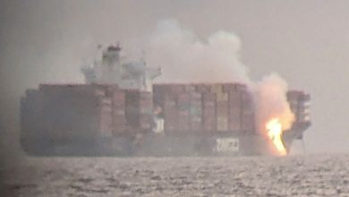 Photo of Fire blazes on cargo ship containers off British Columbia